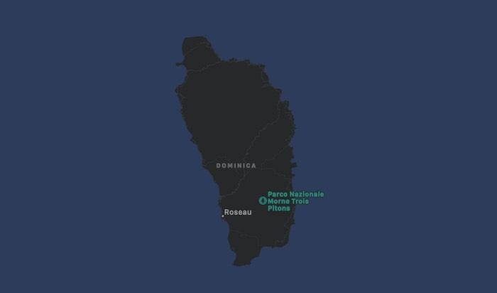 Mappa di Dominica | Cartina dell'Isola di Dominica