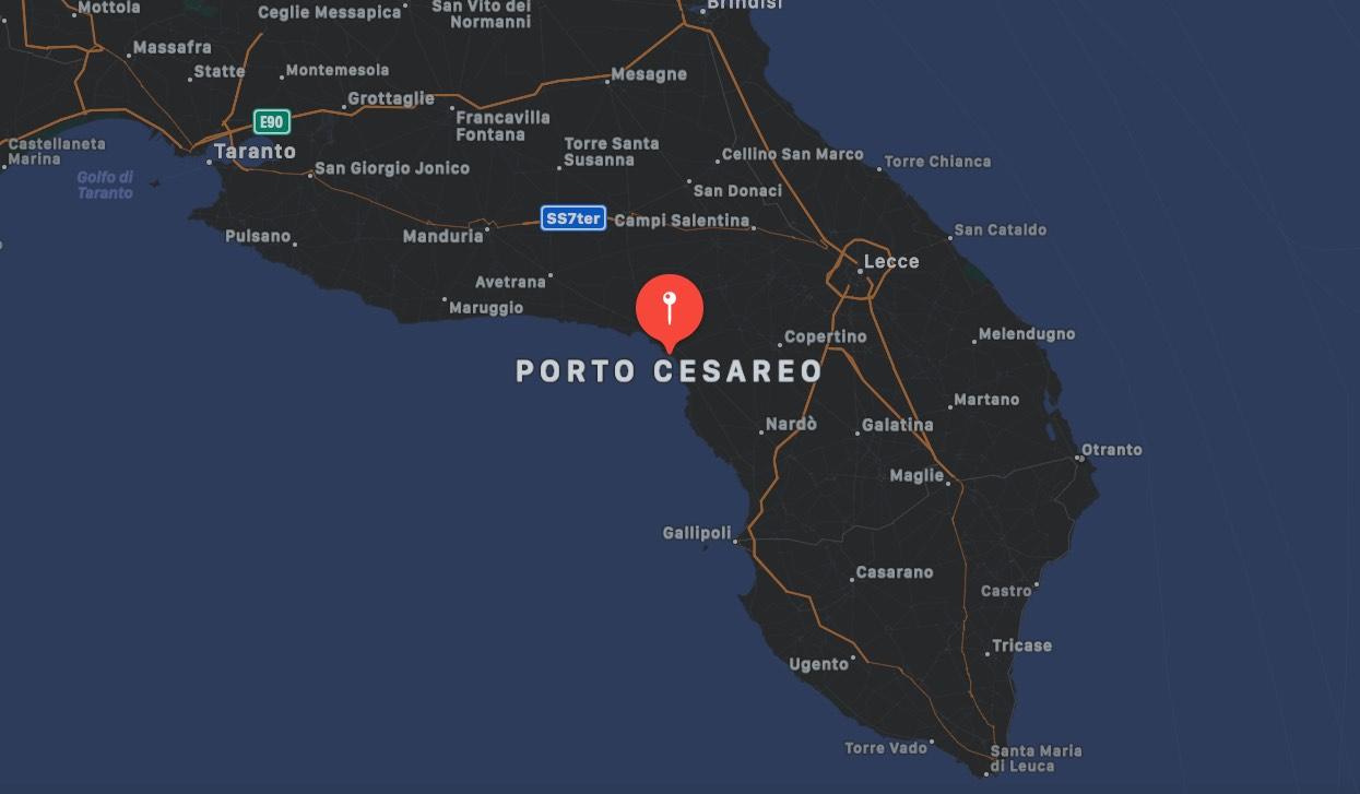 Mappa di Porto Cesareo   Cartina geografica del Salento centrata su Porto Cesareo