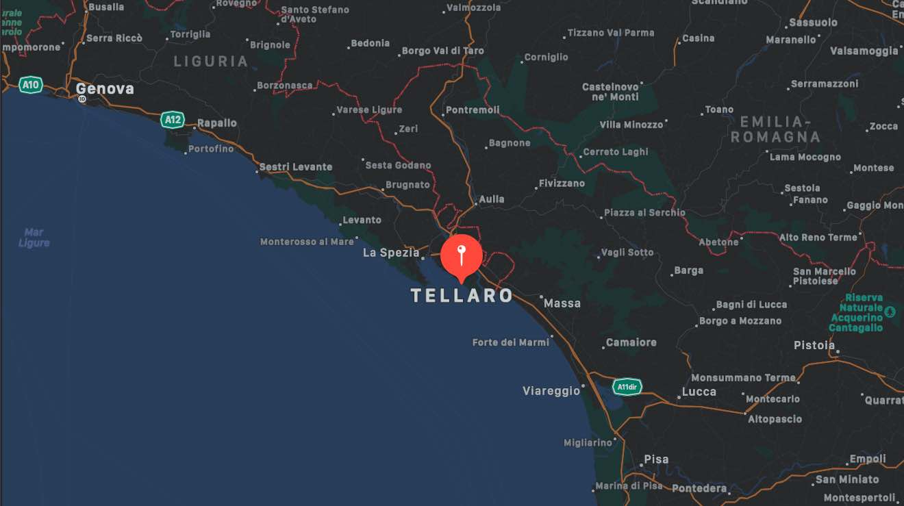 Mappa di Tellaro, provincia di La Spezia