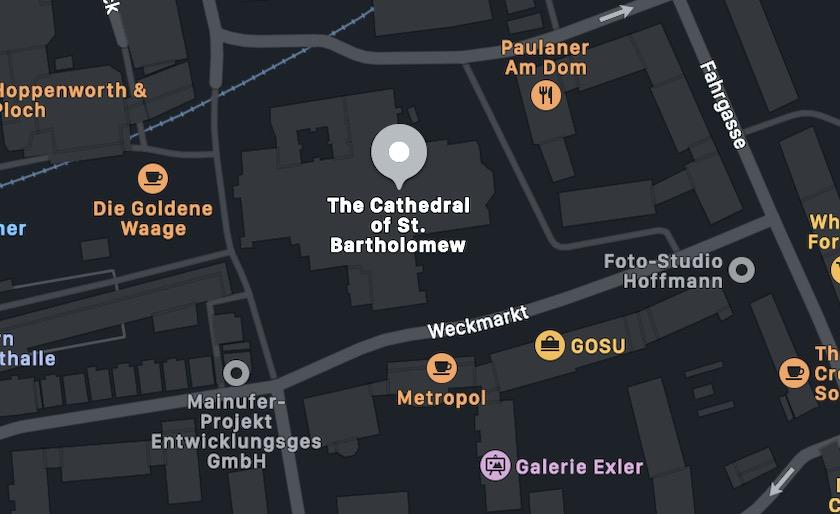 Il Duomo di Francoforte, mappa