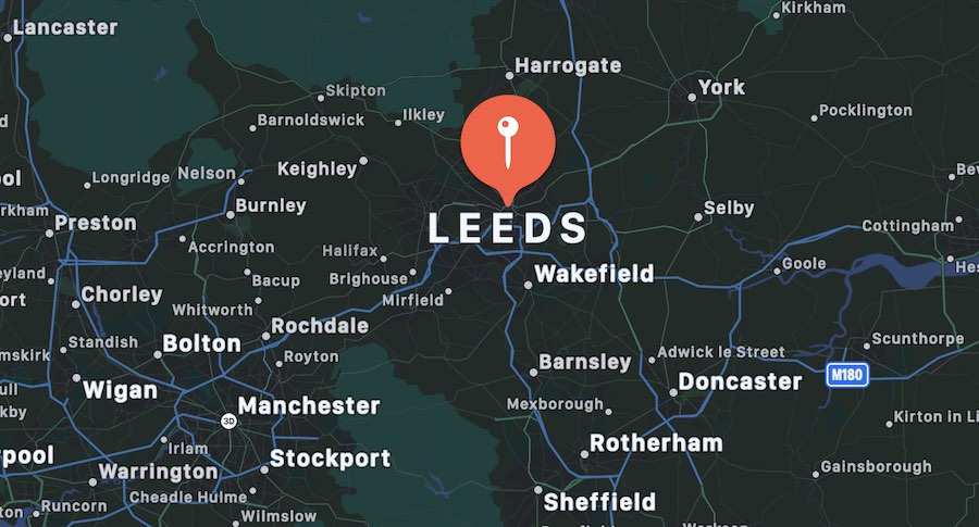 Cosa vedere a Leeds, mappa