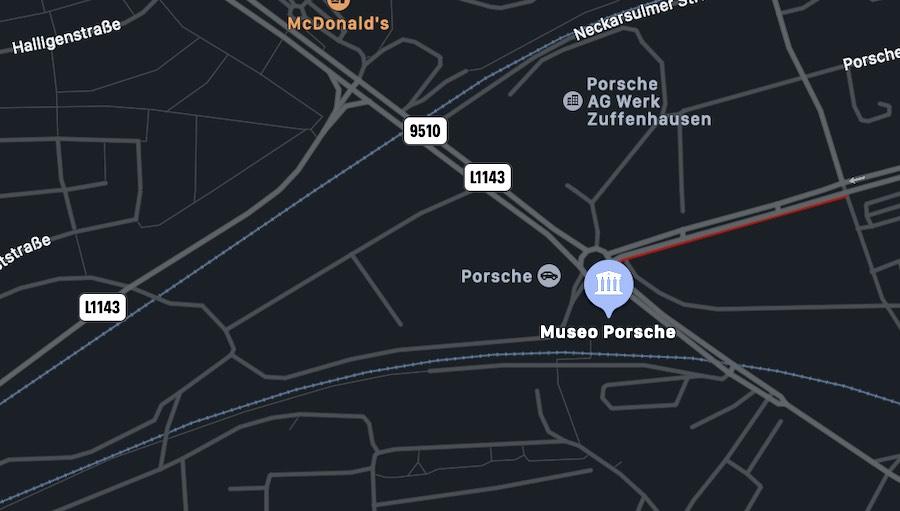 Il Museo Porsche di Stoccarda, mappa