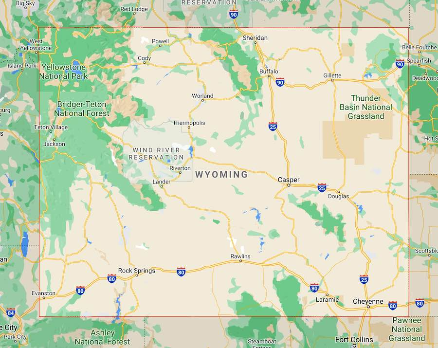 10 luoghi da visitare nello Wyoming, mappa