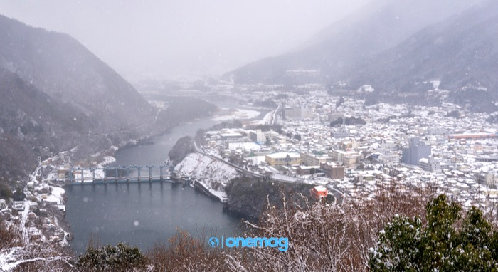 La città di Miyoshi in inverno