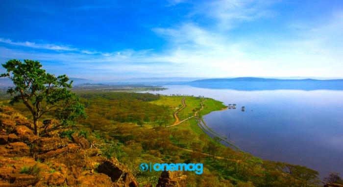 Lago Nakuru - visuale dall'alto sul Lago Nakuru