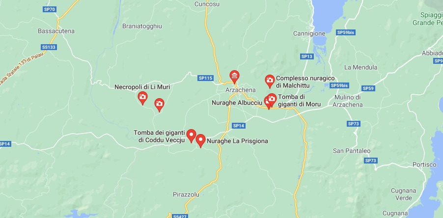 Mappa Siti Archeologici di Arzachena