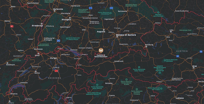 Mappa castello di Neuschwanstein