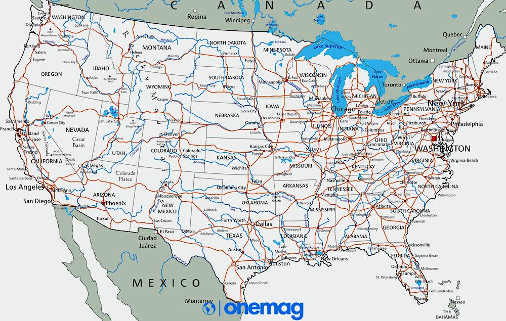 Mappa degli Stati Uniti d'America
