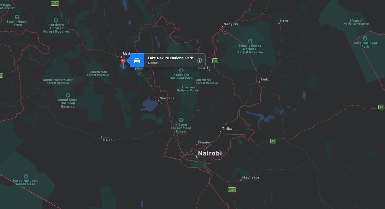 Mappa del Lago Nakuru, Kenya