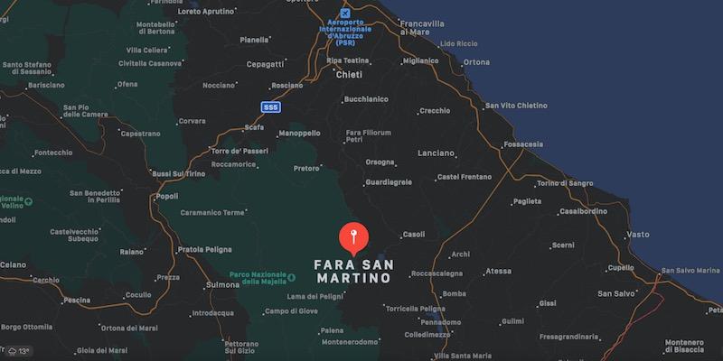 Mappa di Fara San Martino, provincia di Chieti