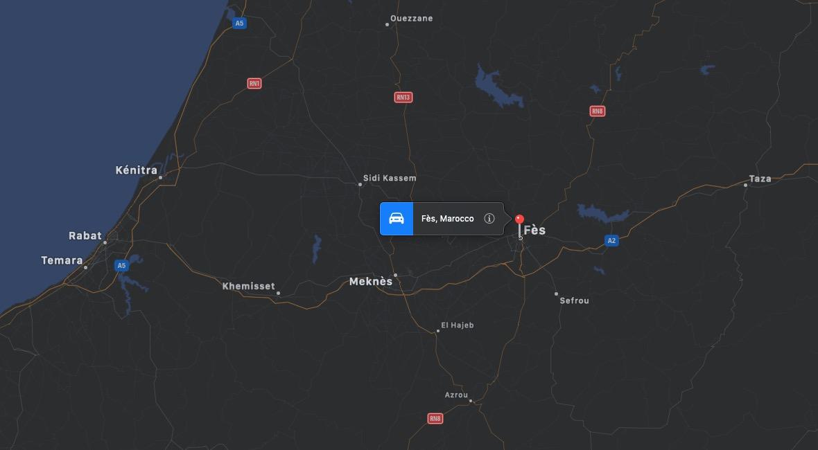 Mappa di Fes, Marocco