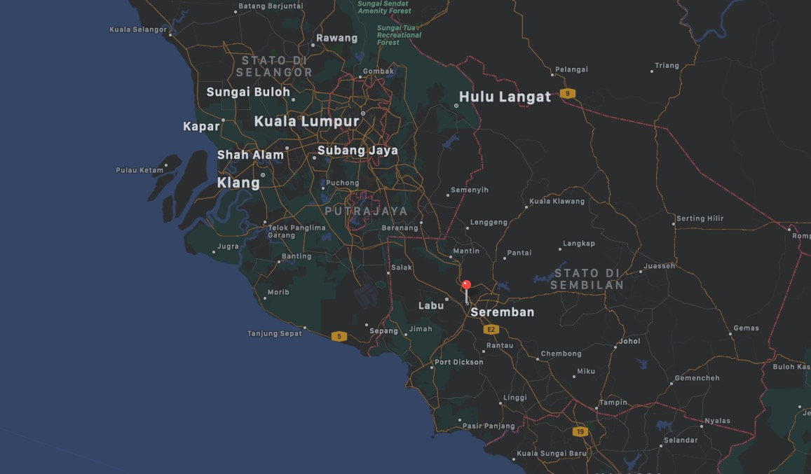Mappa di Seremban, Malesia | Dove si trova Seremban in Malesia