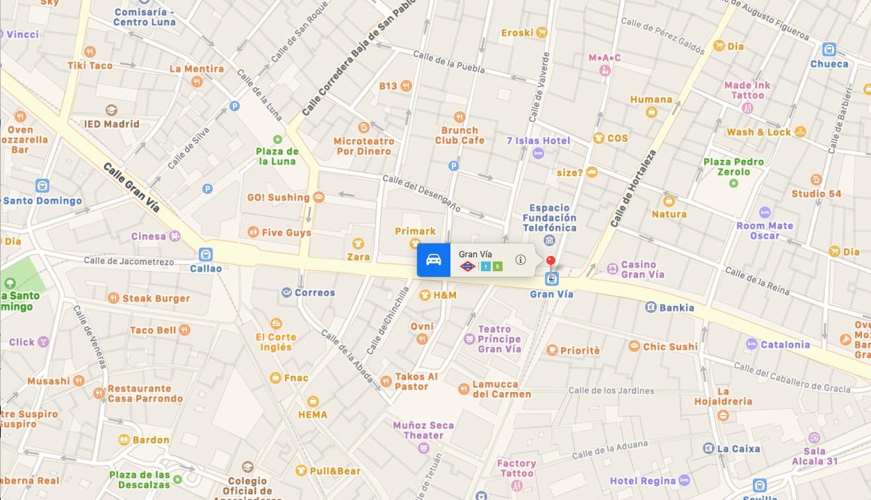 Mappa Calle Gran Via di Madrid, Spagna