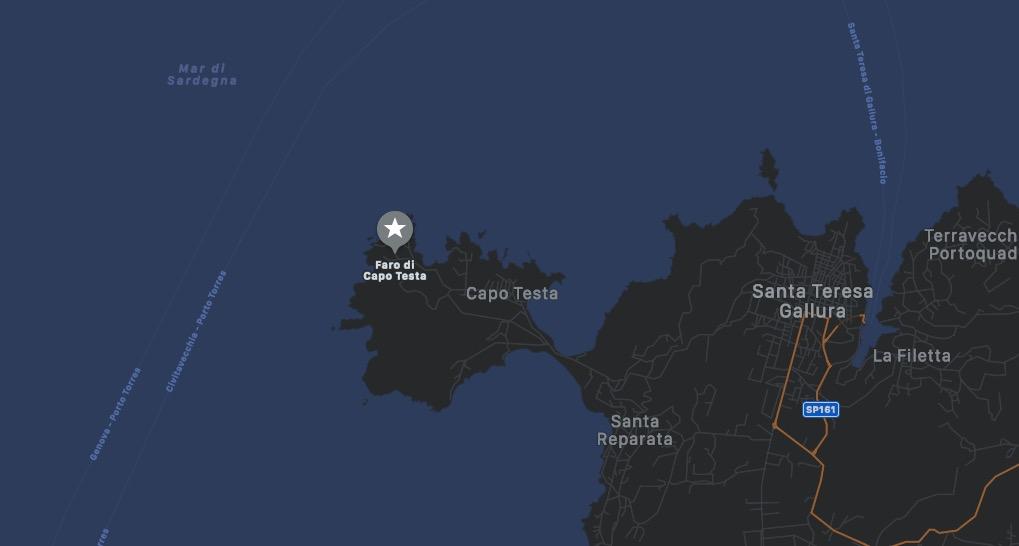 Mappa del Faro di Capo Testa