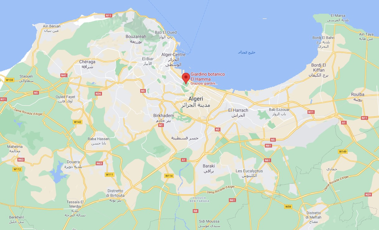 Mappa del Giardino Botanico El Hamma di Algeri