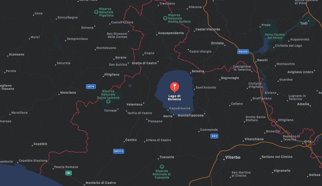 Mappa del Lago di Bolsena, Viterbo