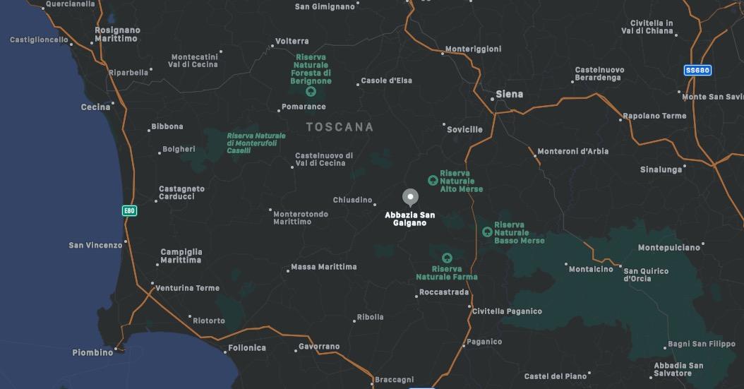 Mappa dell'Abbazia di San Galgano