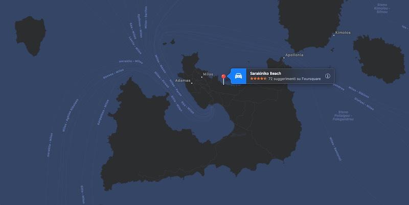 Mappa della spiaggia di Sarakiniko, Milos