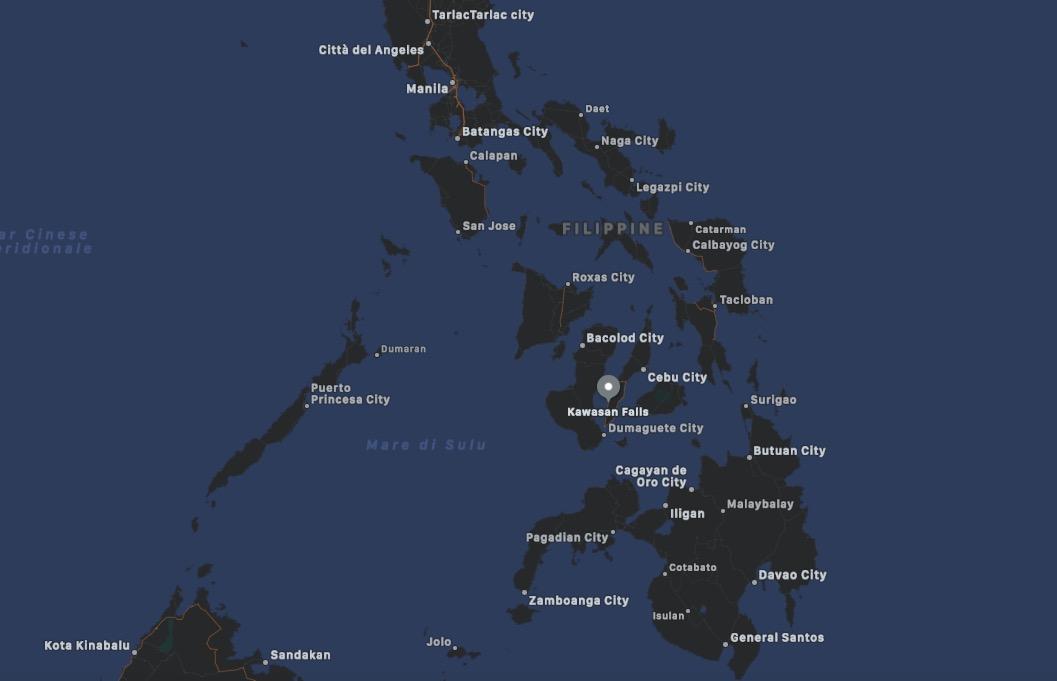 Mappa delle Cascate Kawasan