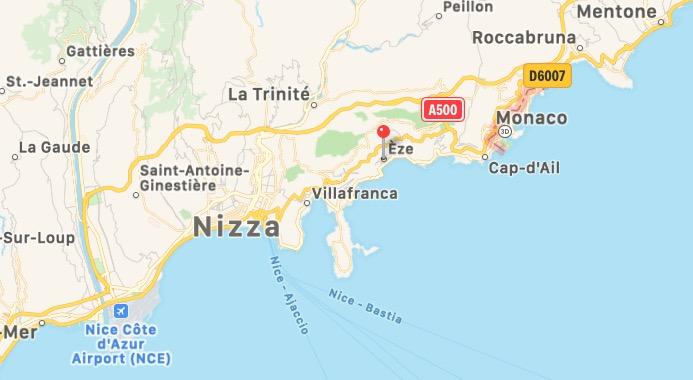 Mappa di Èze in Francia