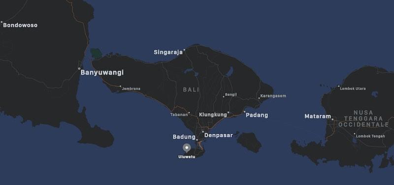 Mappa di Uluwatu, Bali