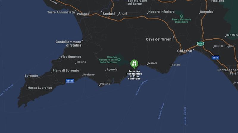 Mappa di Villa Cimbrone e Terrazza dell'Infinito