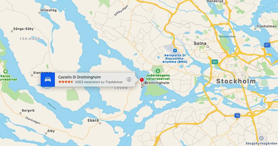 Mappa del Castello di Drottningholm in Svezia
