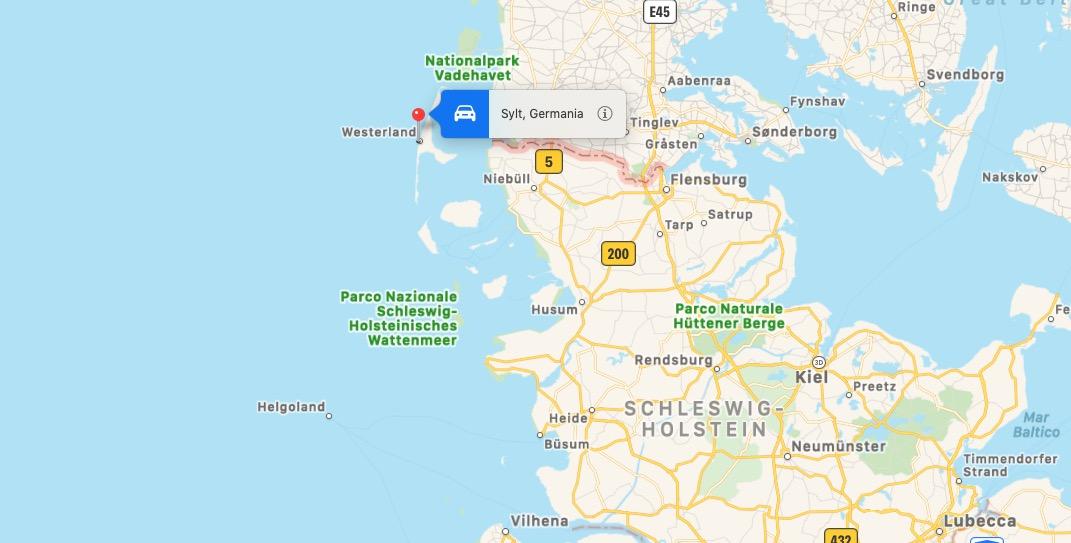 Mappa dell'Isola di Sylt, Germania