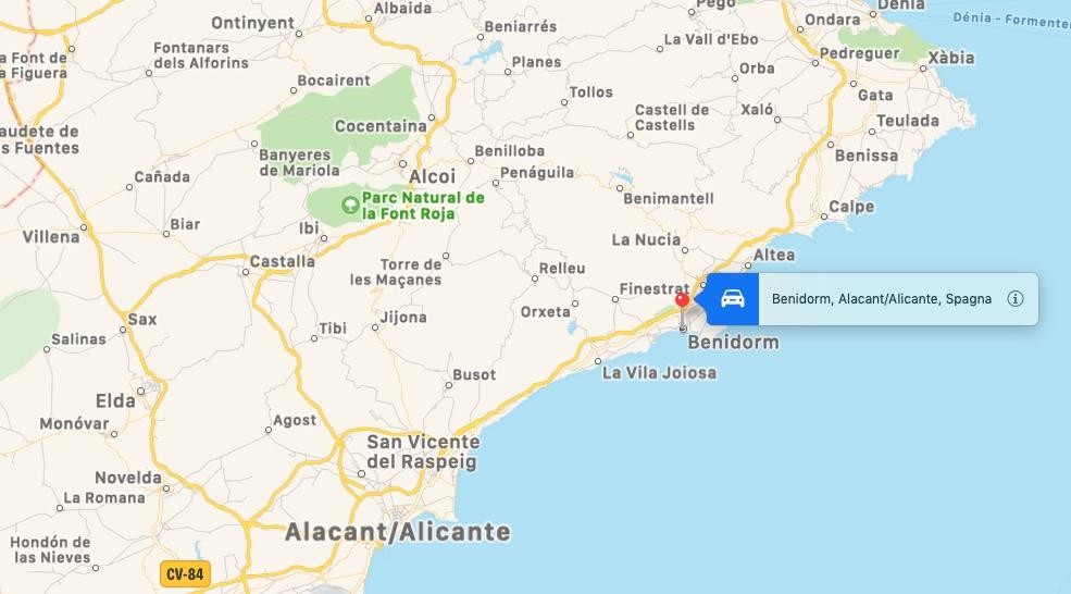 Mappa di Benidorm, Spagna