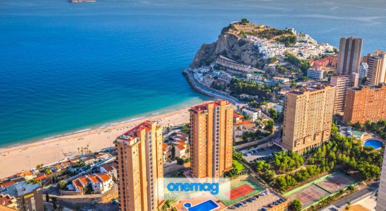 Vista aerea della spiaggia di Benidorm in Spagna